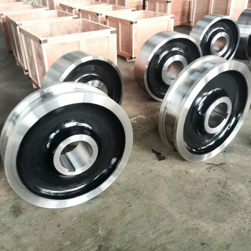 Cast Iron Crane Trolley Wheels 300-2300mm Diameter For Railway Cart Applied Mining